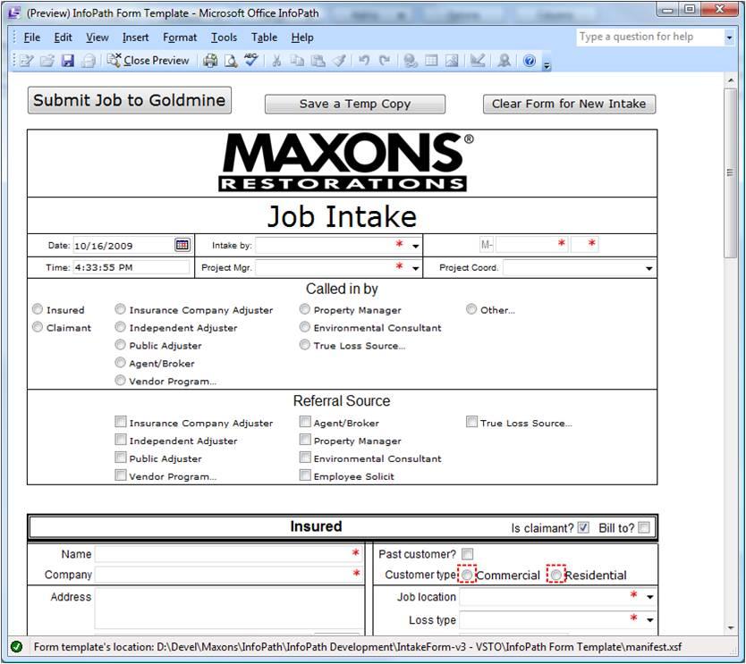 Maxons Intake Form